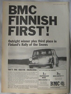 1966 BMC Mini Cooper S Original advert No.2