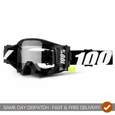 100% Adults Strata Outlaw Forecast Motocross MX Enduro Roll Off Goggles - Black