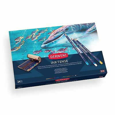 Derwent Inktense colour pencils water colour 24 wrap set