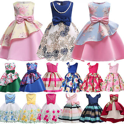 Kid Girl Flower Formal Dress Princess Birthday Bridesmaid Pageant Party Dress AU