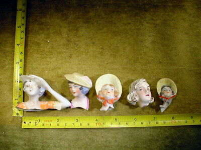 5 x excavated vintage art deco doll head for mixed media altered Art 11738