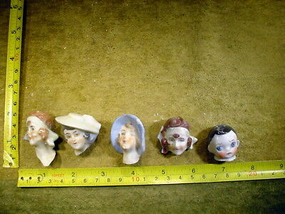 5 x excavated vintage art deco doll head for mixed media altered Art 11754