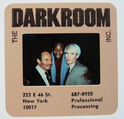 Diapo Ekta Andy Warhol With Pele & Lester Perkis Usa Rare Darkroom Ny Foot Pop