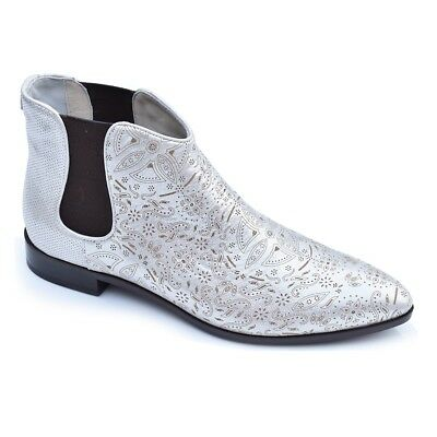 Goody2shoes Ladies Chelsea Leather Boots Featuring Gold Printed Paisley Pattern