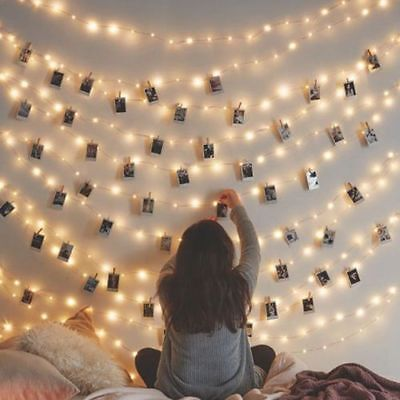 10/36/40 Photo Window Hanging Peg Clips LED String Lights Home Party Fairy Decor