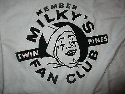TWIN PINES DAIRY MILKY THE CLOWN Fan Club White Large Shirt NWOT DETROIT 1960's