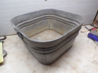 Old Square Metal Laundry Wash Tub  for Flower Pot Garden Planter