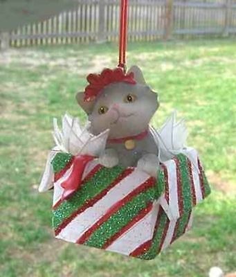Kitten Package GRAY Cat in Package Resin Xmas Ornament CLEARANCE