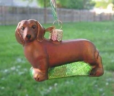 Old World Christmas DACHSHUND RED Blown Glass Dog Breed Ornament