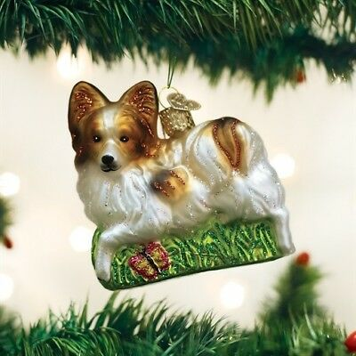 Old World Christmas Playful PAPILLON Blown Glass Dog Breed Ornament