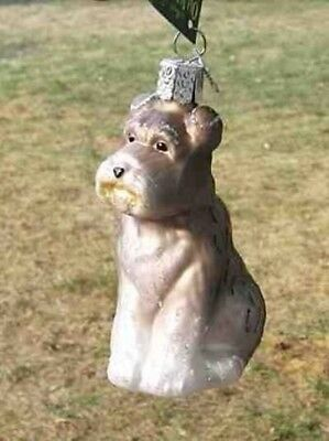 Old World Christmas SCHNAUZER LIGHT GREY Blown Glass Dog Breed Ornament