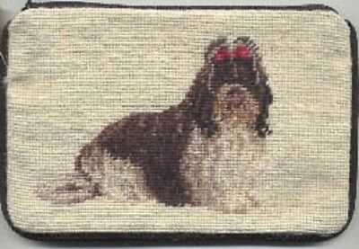 NP cosmetic SHIH TZU Dog Breed Needlepoint Cosmetic Bag Purse Zippered Pouch
