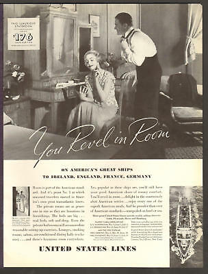 United States Lines Cruise MAY 1935 REVEL IN ROOM Original Print Ad