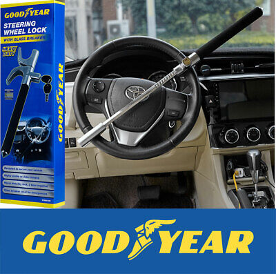 Goodyear Heavy Duty Steering Wheel Lock With Emergency Glass Breaker and 2 Keys