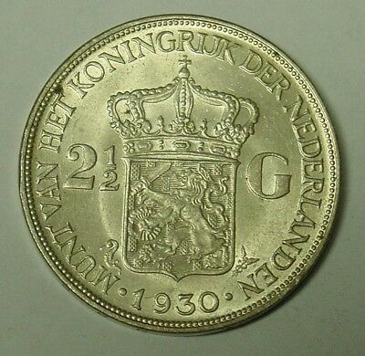1930 Netherlands silver 2.5 Guilders, Extremely Fine.