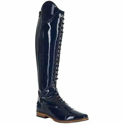 Imperial Riding Long Patent Navy Boots - 39 Wide BLACK FRIDAY SALE