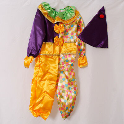 Childs Clown Fancy Dress Costume Fun Kids Party Outfit Halloween Girls Jumpsuit