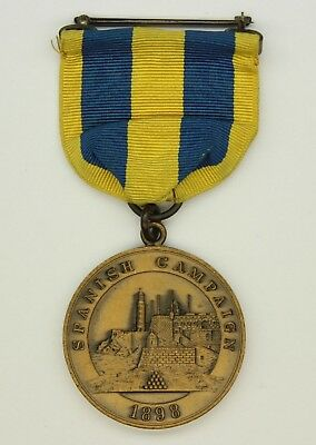 U.s. Navy Spanish American War Spanish Campaign Medal 3-Ring 1930's Type - Mint!