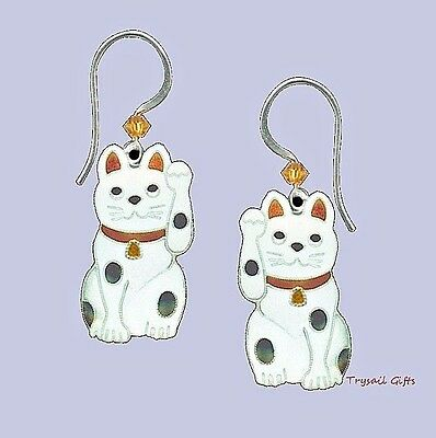 Bamboo Jewelry Lucky Cat Cloisonne Emaille Ohrringe Sterlingsilber + Gewickelt