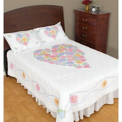Jack Dempsey Stamped White Quilt Top-flowers & Hearts