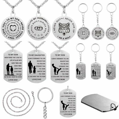 To My Son Daughter Gift Mother Father Dog Tag Necklace Pendant Stainless Steel