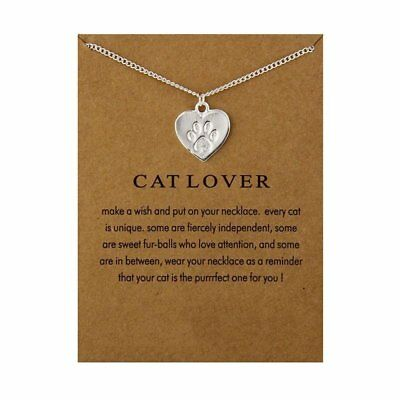 Fashion Jewelry Memories Cat Lover Friendship Heart Pendant Necklace Women Gift