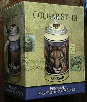 Limited Edition Collectable Endangered Species Cougar Stein Budwieser W/ Box
