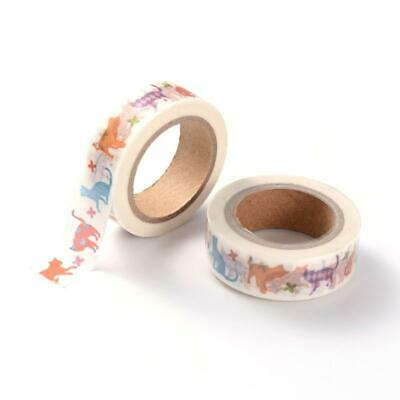 1 x 10m Roll Mixed/White Adhesive 15mm Cat Washi Tape Y13150