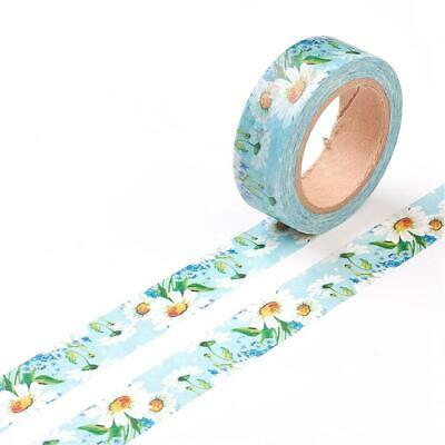 1 x 10m Roll Blue/White Adhesive 15mm Flower Washi Tape Y13260