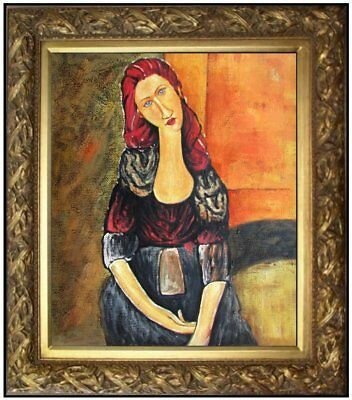 Framed Quality Oil Painting, Modigliani Portrait of Jeanne Repro, 20x24in