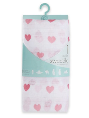 Aden & Anais Muslin Swaddle Blanket NWT Pink Hearts Motif  Baby Shower Gift