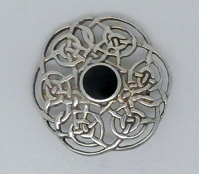 Vintage English Hallmarked Celtic Knot Sterling Silver & Cabachon Stone Brooch