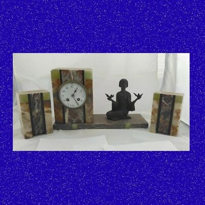 Art Deco French Marti of Paris Variegated Marble Figural Mantle Clock ca.1920