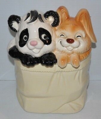 RABBIT & PANDA BEAR Ceramic COOKIE JAR Japan vintage
