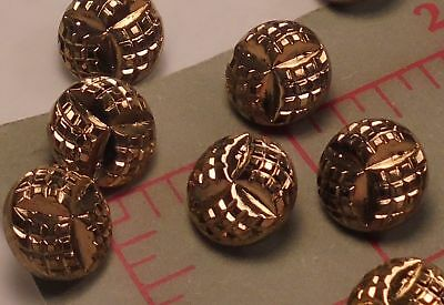 "144 Vintage Small Gold Glass Shank Buttons Geometric Design Czech 1/2"" 13mm #43"