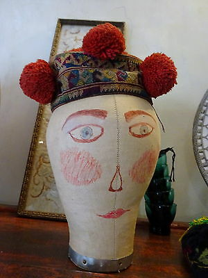 Antique Yao Lu Mienh Hill Tribes South East Asia Child's Girl's Hat Embroidery