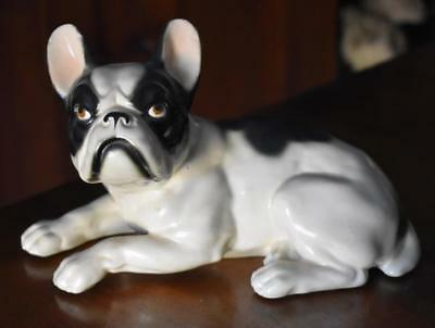 Fabulous Victorian Era Black White French Bulldog Figural Incised Factory Number