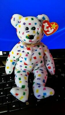 Vintage TY BEANIE BABY Bear 1999 TY2K w/ hanging Heart & Tush TAGS, RETIRED