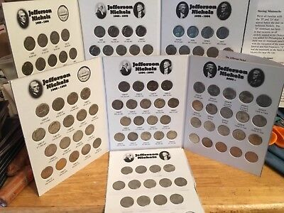 Jefferson Nickels 1950  - 2018;  Complete (Includes 50D) In Coin Folders