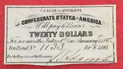 1861 $20 US Confederate States of America! Choice FINE! Old US!
