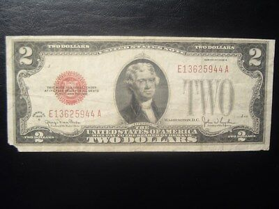 1928-G Red Seal $2 U S Note Thomas Jefferson/Monticello U S currency #E13625944A