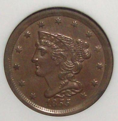 1855 Slanted 5's BRAIDED HAIR HALF CENT 1/2 Cent ANACS Graded MS-61 Brown 37B76