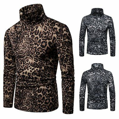 Men Fashion Leopard Print Turtle Neck Long Sleeve Knit Pullover Sweater Tops