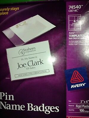 avery pin style name badge holder 74540 brand new free usps
