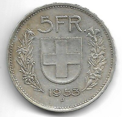 Switzerland 1953 B 5 francs silver coin