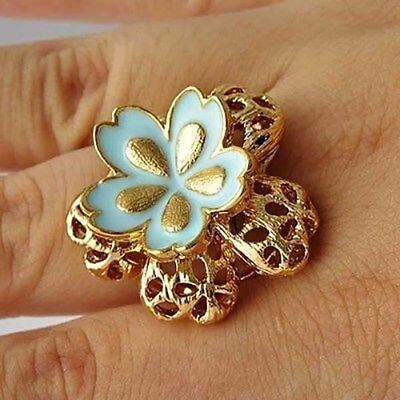 yellow Gold Filled Womens Blue Enamel butterfly Ring Size 7 Hollow Flower