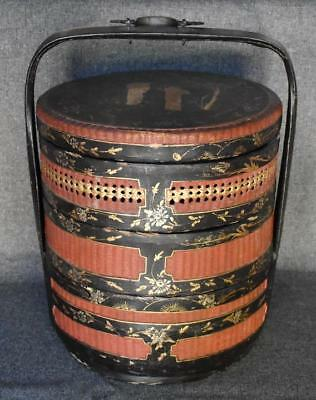 Ornately Hand Painted Three Tier Antique Chinese Wedding Basket W Bronze Handle