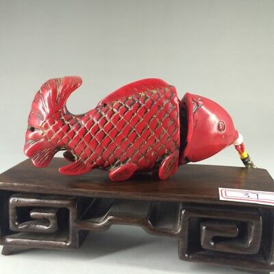 Antique Chinese hand optimization red coral fish man & woman