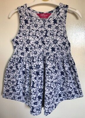 Brand New Baby Girls Primark Navy Blue & White Floral Patterned Dress. Age 18-24