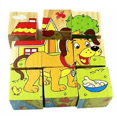 3D Wooden Educational Jigsaw Learning Animal Puzzle Blocks Baby Christmas Toys@